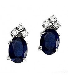 Oval Sapphire & Diamond Earrings