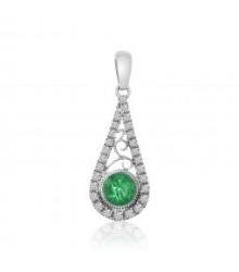 Tear Drop Emerald and Diamond Pendant
