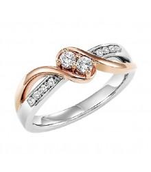 14K Diamond Two Stones Ring  1/5 ctw