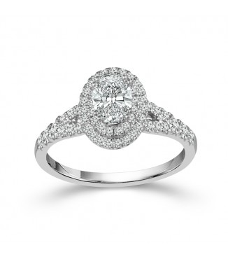 1 CTW Oval Double Halo Engagement Ring