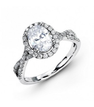 Oval Diamond Halo Engagement Setting