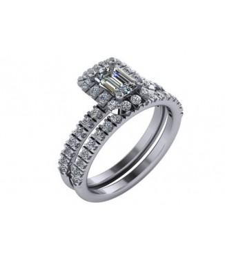 1.25 CTW Emerald Cut Diamond Engagement Set