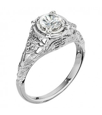 .88 ctw 18KW Antique Engraved Ring