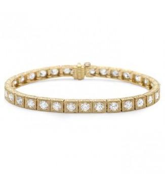 18KY Engraved Diamond Bracelet
