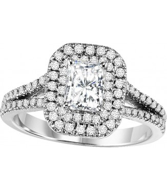 1.45 CTW Radiant Cut Halo Diamond Engagement Ring
