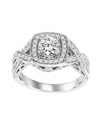 Halo Diamond Engagement 5/8 CTW Setting with Braided Band
