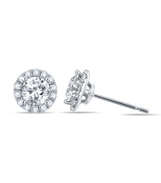 3/4 Carat Diamond Halo Earrings