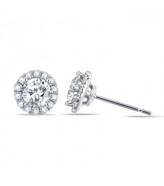 1 Carat Diamond Halo Earrings
