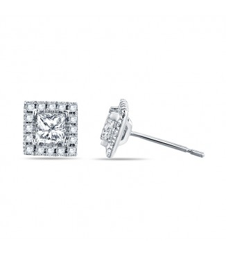 3/4 carat Princess Halo earrings