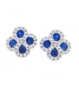 Sapphire & Diamond Swirl Earrings