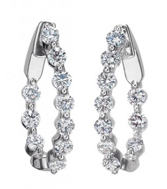 18KW  Diamond Hoop Earrings