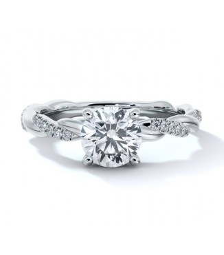 14K White Gold Pave' Rope Engagment Ring