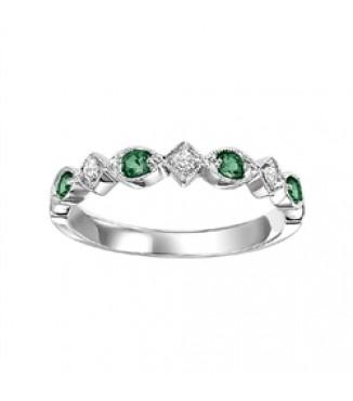 Emerald & Diamond Stackable Band FR1028