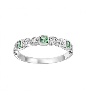 Emerald and Diamond Stackable Ring FR1036