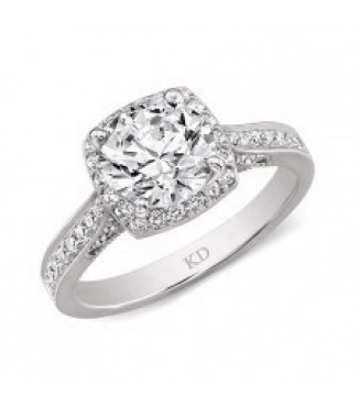18K White Gold Halo Setting