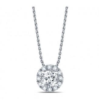 3/4 carat Round Halo Diamond Pendant
