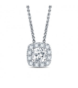 3/4 ctw Cushion Halo Diamond Pendant