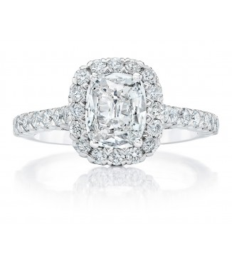 7/8 Carat Cushion Halo Engagement Ring