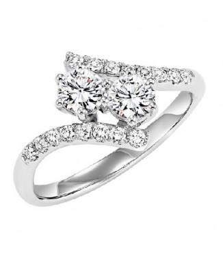 14K Diamond Two Stones Ring 1 ctw