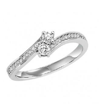 14K Diamond Two Stones Ring  1/4 ctw