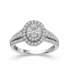 1.25 CTW Oval Double Halo Engagement Ring