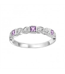 Pink Sapphire and DIamond Stackable Ring FR1039