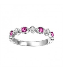Ruby and Diamond Stackable Ring FR1043