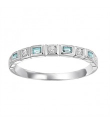 Blue Topaz & Diamond Stackable Ring