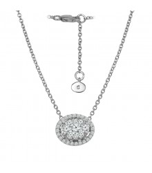 Oval Horizontal Diamond Pendant