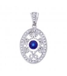 14K White Sapphire & Diamond Pendant
