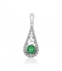 Tear Drop Emerald and Diamond Pendant