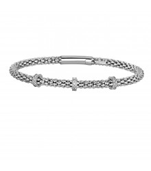 Philip Gavriel  Silver Popcorn Bracelet with 3-Diamond Stations