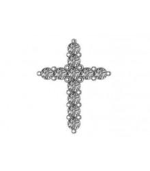 14K White Diamond Cross