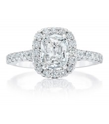 7/8 Carat Cushion Halo Engagement Ring