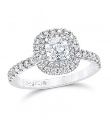 7/8 Carat TW Cushion Halo Ring