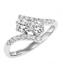 14K Diamond Two Stones Ring 1/4 ctw