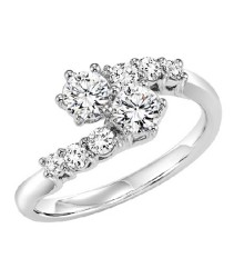14K Diamond Two Stones Ring  1/2 ctw