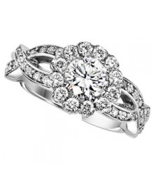 Diamond Engagement Setting 0.63 ctw 14K White Gold